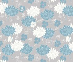 Dalia_and_lillies_blossom fabric by maredesigns on Spoonflower - custom fabric