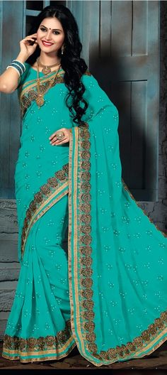 709827 Blue color family Embroidered Sarees,Party Wear Sarees in Faux Chiffon fabric with Lace,Machine Embroidery,Thread work with matching unstitched blouse.