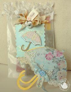 Umbrella card for baby shower.  Midnite Lullabies Studio: april flowers...TSTR #111