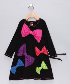 Bow-tiful dress by Me & Ko on #zulily. How much fun would this be with bright-striped tights?