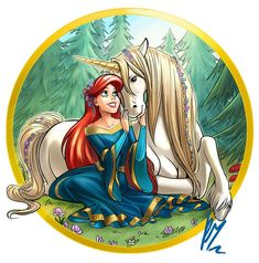 Ariel Unicorn by Ritam Princesa Ariel Disney, Disney Princess Ariel, Disney Nerd, Princess Art, Arte Disney, Disney Fan Art, Disney Magic, Disney Princesses, Disney Little Mermaids
