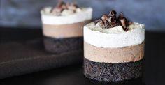 """triple chocolate mousse cake - I have made the """"big"""" version of this - best served frozen.as the mousse gets smooshy for cutting. Great idea for individual portions. Chocolate Mouse Cake, Triple Chocolate Mousse Cake, Decadent Chocolate, Choclate Mousse, White Chocolate, Chocolate Heaven, Sweet Recipes, Cake Recipes, Dessert Recipes"""
