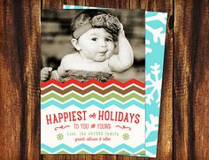 Holiday Photo Card Colorful Chevron and Snowflakes by seedtosprout On Sale!