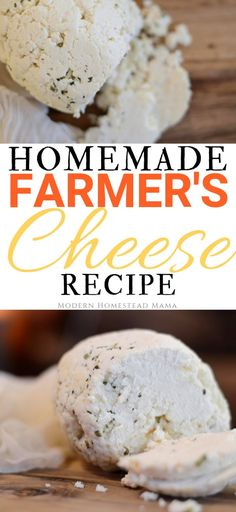 My homemade farmer's cheese recipe is easy, delicious, and versatile! I've been dying to get into cheesemaking. Goat Milk Recipes, Goat Cheese Recipes, Farmers Cheese Pierogi Recipe, Cheese Dishes, Fresh Cheese Recipe, Homemade Goats Cheese, Homemade Food, Homemade Things, Homemade Yogurt