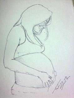 ilustração Mulher Grávida - caneta esferográfica - Pregnant woman illustration - Ballpoint Pen