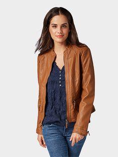 05a94e0bb84 Faux leather jacket - Women - orange brown