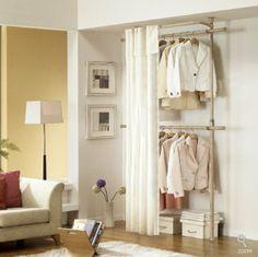 Amazon.com - Premium Wood 2 Tier Hanger with Curtain | Clothing Rack | Closet Organizer