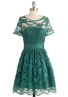 Adrift on a Cloud Dress in Emerald. Dressed in the floral-patterned overlay of this emerald dress by BB Dakota, youre feeling wonderfully lighthearted and lovely! #gold #prom #modcloth