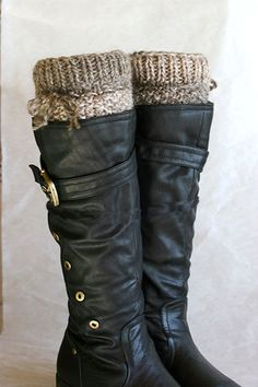 Knit boot socks ~love the yarn color, ombre, mismatch, and change in pattern