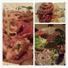 Cajun Jambalaya Pasta, Barbque Salmon and Mashed Potatoes and Chicken Lettuce Wraps @cheesecake factory