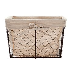 Rectangle Wire Basket with Liner, Large in color .