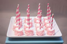 Marshmallow pops on striped straws at a Baking Party #baking #marshmallows