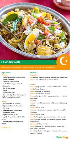 This experience the traditional flavours (and aromas) of Iftar with a classic lamb biryani. Lamb Biryani Recipes, Lamb Recipes, Curry Recipes, New Recipes, South African Recipes, Indian Food Recipes, Real Food Recipes, Cooking Recipes, Rice Side Dishes
