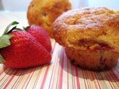 Low fat strawberry cornmeal muffin - 200 calories a muffin and made with cornmeal, strawberries, buttermilk and yogurt.