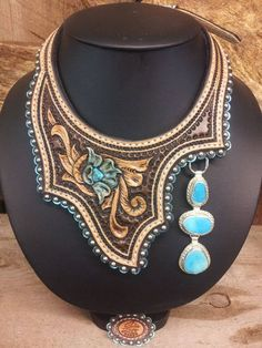 Custom Leather Neck pieces w removable PendantsYou can find Pendants and more on our website.Custom Leather Neck pieces w removable Pendants Leather Carving, Leather Art, Custom Leather, Leather Cuffs, Leather Tooling, Tooled Leather, Handmade Leather, Leather Necklace, Leather Jewelry