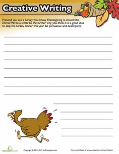 Put a fun twist on writing practice with a fun Thanksgiving writing prompt. Your child will polish her persuasive writing skills and stretch her imagination. Social Studies Worksheets, Writing Worksheets, Writing Lessons, Writing Practice, Writing Skills, Writing Rubrics, Creative Writing For Kids, Creative Writing Exercises, Creative Writing Prompts