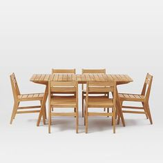 $3320 with shipping 7-piece set Mid-Century Outdoor Dining Sets - Teak #westelm