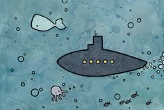 Submarine and Whale Mini Illustration Print by studiotuesday, $14.00