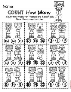 TEEN NUMBERS - count how many worksheet - easy NO PREP activity for kindergarten math - counting and cardinality common core unit - FREE printables and worksheets math worksheets common core activities Cardinality Kindergarten, Number Worksheets Kindergarten, Fun Worksheets, Preschool Math, Math Classroom, Kindergarten Activities, Teaching Math, Teaching Geography, Free Activities