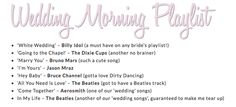 I can't wait to wake up on the morning of the big day (if I get any sleep!) To really set the mood, I have started to create a 'wedding morning playlist'. The Dixie Cups, You Say Goodbye, Wedding Morning, Cute Songs, Jason Mraz, Billy Idol, Dirty Dancing, Wedding Music, Day Of My Life