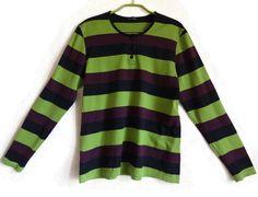 MARIMEKKO Striped Shirt Long Sleeves Nautical Top Green Purple Black L Size Women's Marimekko Clothing Cotton Clothing Marimekko Top by Vintageby2sisters on Etsy