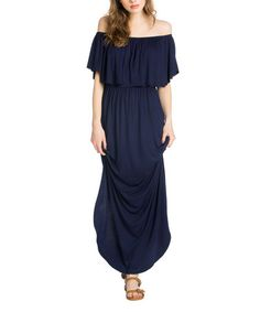 This Navy Ruffle-Accent Off-Shoudler Maxi Dress is perfect! #zulilyfinds
