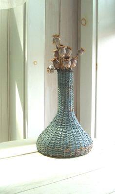 Antique AWAJI Japanese Pottery Vase Bamboo Wicker Weaving RARE Tall 11 1/2