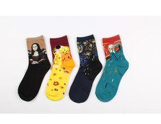 4 pairs women man unisex cotton Munch Van Gogh DaVinci Klimt masterpiece paintings socks