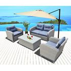 Sets Chairs Furniture Lounge Coffee Table Patio Wicker Sofa 4pcs Outdoor Garden