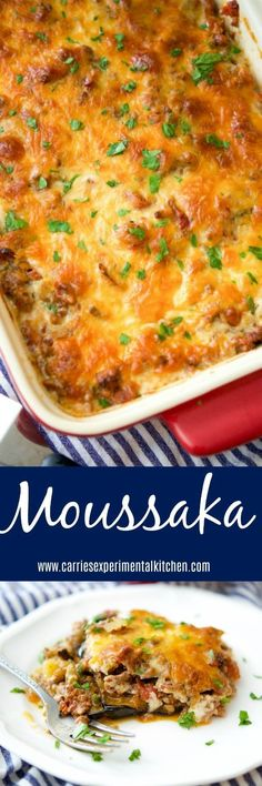 Moussaka originated from Greece and the Middle East and is casserole dish made with layers of potatoes, eggplant and ground beef; then topped with a cheesy Bechamel sauce. via @CarriesExpKtchn