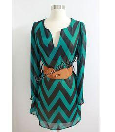 Mint Chevron Dress Cute Zig Zag Pattern Dress by LemniscateAddict