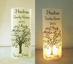12 personalized family reunion party centerpiece table decoration luminaries tree heart