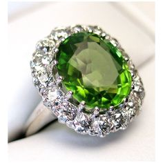 CWS! 20% OFF the price shown on this 14k Peridot & Diamond Ring - Outstanding Vintage Beauty appraised over $4700!