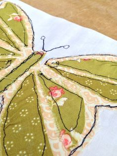free motion machine embroidery butterfly
