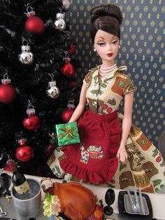 Thanksgiving Feast Barbie and Christmas tree! Holiday Hostess by pigglys_playground