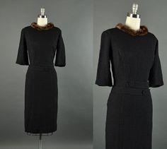 Vintage 1950s Dress / mink wiggle dress / 50s by NodtoModvintage, $114.00