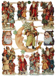 Victorian Santas paper scraps for DIY projects - made in Germany