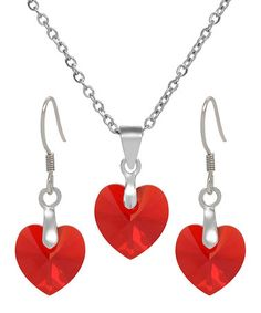 Love this Red Heart Necklace & Earrings With Crystals From SWAROVSKI on #zulily! #zulilyfinds