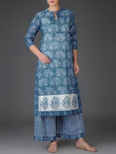Indigo Block-Printed Front Tie-Up Chanderi Kurta with Cotton Lining High Neck Kurti Design, Salwar Neck Designs, Kurta Designs, Saree Blouse Designs, India Fashion, African Fashion, Women's Fashion, Chudidhar Designs, Hijab Style Dress