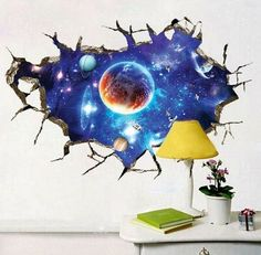New Interstellar Space View Wall Stickers SUPPION Removable PVC Art Room Decals Murals Home ** You can get more details by clicking on the image. Sticker Art, 3d Wall Decals, Kids Room Wall Stickers, Removable Wall Stickers, Wall Stickers Murals, Wall Murals, Wall Art, Window Stickers, Decoration Stickers