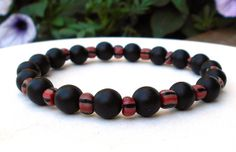 Mens Black Bracelet Mens Black Onyx Jewelry  by BlueStoneRiver, $25.95