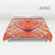 Duvet Cover  Comforter Cover  Tie Dye Bedding  Heart  by LKBcolour, $150.00