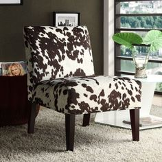 This animal-friendly cowhide accent chair brings a touch of old-West flair to your home of office. Sturdy wood construction makes this seat sustainable enough to stand the test of time. This cowhide c