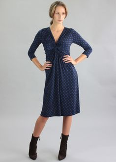 Belleville Dress in navy and cobalt polka dot print - perfect for larger cup sizes, fitting D to H cups, from www.saintbustier.com