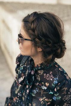 Hair accessory: tumblr hairstyles braid brunette sunglasses blogger printed shirt floral flowers