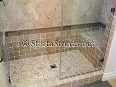 Pebble tile floor in shower