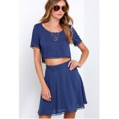 Two piece blue crop top skirt set. Comfy yet dressy two piece set. Skirts Skirt Sets