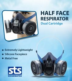 Shigematsu Dual Cartridge Reusable Half Face Respirator   Model No-TW02S   Shigematsu is the leading professional manufacturer of particulate and gas respirators in Japan. 100+ years since Founding. Mask Complianced by (JIS) Japanese Industrial Standards and (ISHA) Industrial Safety and Health Act ( japan ). Industrial Safety, Safety Mask, Headset, Headphones, Metal, Face, Japanese, Health, Headpieces