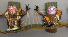 2x Handcraft remade Tree-house clocks