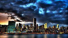 The Skyline Of New York City At Dusk